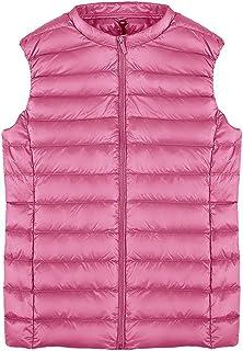 QCHENG Women's Down Vest Packable Lightweight Quilted Gilets Short Outerwear Coat Jacket Puffer Vest