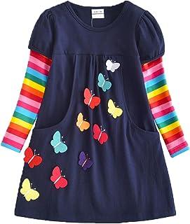 لباس دخترانه دخترانه آستین بلند پنبه ای VIKITA کودک نو پا زمستانی برای کودکان 2-8 ساله