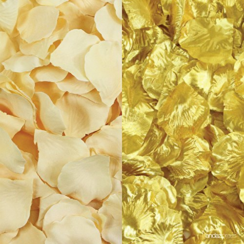 Andaz Press Silk Fabric Rose Petals Table Decorations, Ivory, Gold, 400-Pack, Colored Wedding Baby Bridal Shower 25th 50th Anniversary Party Supplies