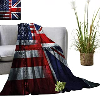 smllmoonDecor Union Jack Lightweight All-Season Blanket Alliance Togetherness Theme Composition of UK and USA Flags Vintage Plush Blankets Navy Blue Red White W60 xL62