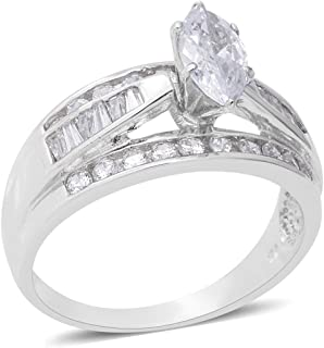 925 Sterling Silver Marquise Cubic Zirconia CZ Band Ring for Women Jewelry