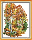 Joy Sunday Cross Stitch Kit 14CT Stamped Embroidery Kits Precise Printed Needlework- in The Autumn of Birches 41×50CM