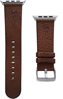 Game Time Minnesota Vikings Brown Leather Band Compatible with Apple Watch - 42mm/44mm Long Length