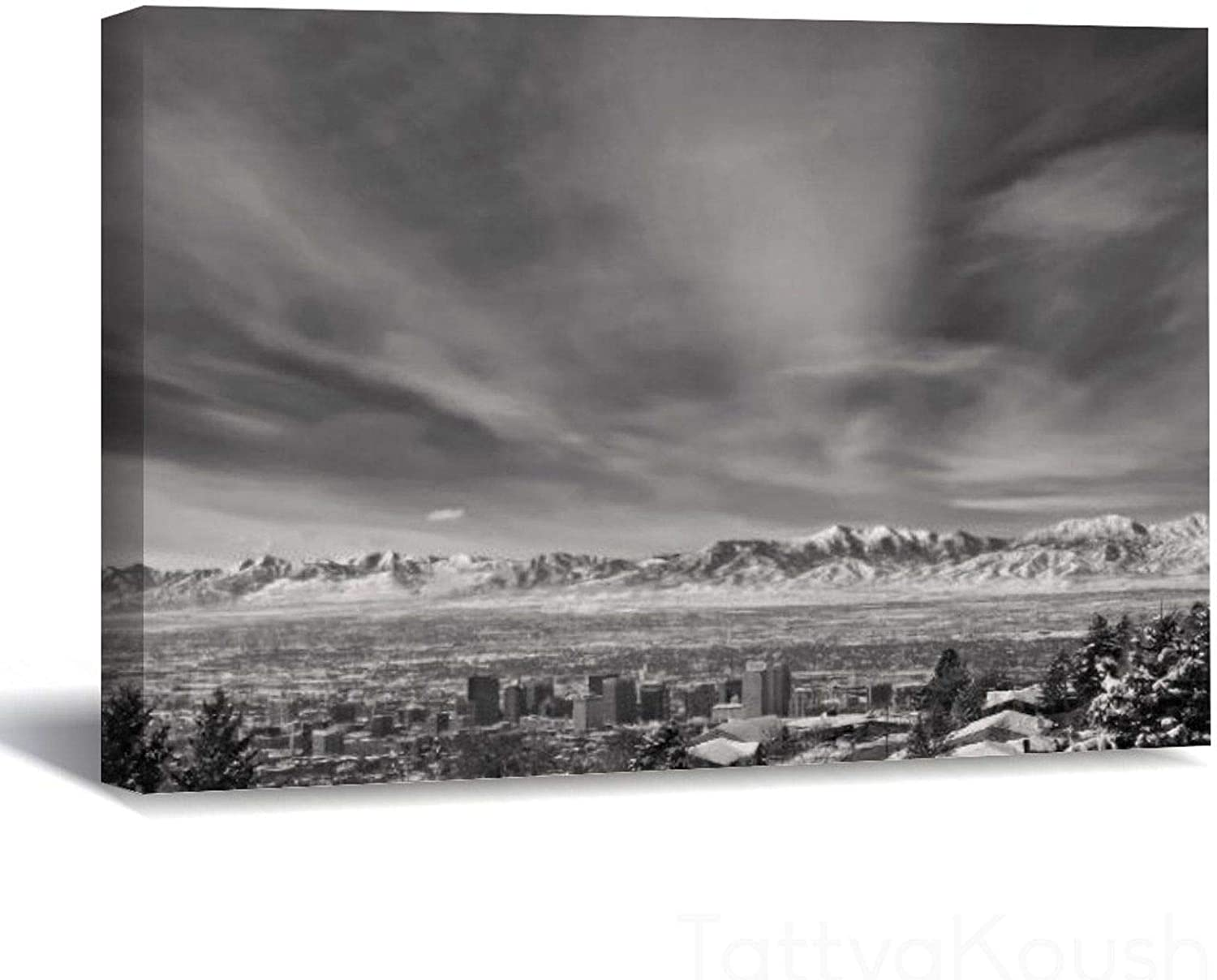 Canvas Prints Wall Art Paintings Salt Lake City Utah Black And White Wall Artworks Pictures For Living Room Bedroom 16x24 Inch Home Bathroom Wall Decor Posters Posters Prints