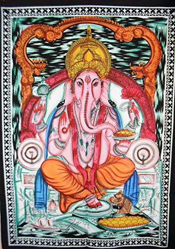 handbemalt Lord Ganesha, Indian Poster Wall Decor, Hippie Tapisserie, Bohemian Wandbehang, Gypsy Wohnheim Room Dekorationen