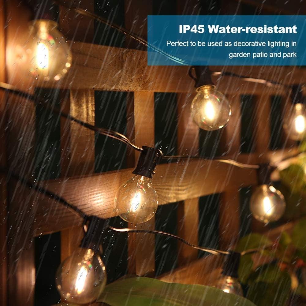 Led G40 Lichterkette Außen【2er Pack】, 6,5M Led Lichterkette Glühbirne, 12 Birnen + 1 Ersatzbirne, IP44 Wasserdicht für Innen- Außenraum Weihnachten Hochzeit【Led Version】 2#
