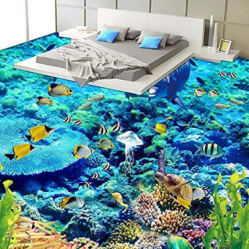 Tamaño personalizado Papel tapiz fotográfico 3D Suelo del mundo submarino PVC Baño 3D Decoración del piso de la habitación Mural Papel tapiz de vinilo Decoración para el hogar-350x245cm