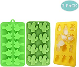 Cactus Ice Cube Tray Set of 3, Tropical Theme Silicone Baking Mold Ice Tray Including Pineapple Coconut Tree Cactus - Nice Kitchen Tool Gift, Noticed:The Color of Our Products is Randomly, Mixed Batch
