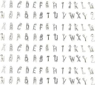 Miraclekoo ABC Letter/Alphabet Letter A-z Charms Alphabetic Pendant,Set of 4(104 Pcs)(Antique Silver)