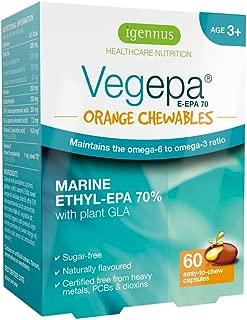 Vegepa Orange Chewables Omega-3 & Omega-6 Fish Oil with Vitamin C for Kids Aged 3+, high EPA Formula, Orange Flavor, Sugar-Free, 60 softgels