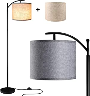 Floor Lamp for Living Room, LED Standing Arc Floor Light with 2 Hanging Lamp Shades(Beige/Gray), Tall Pole Classic Industrial Black Floor Reading Lamp with 9W 3000K LED Bulb for Bedroom Study Office