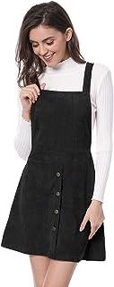 Allegra K ジャンパースカート サロペットスカート Aライン オーバーオール コーデュロイ ボタン飾り レディース