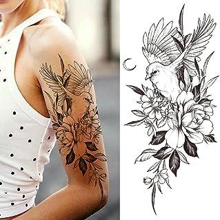 Bloem Pioen Tijdelijke Tattoo Vrouwen Meisje Zwart Masker Lelie Keten Tattoo Tattoo Snake Sticker Realistische Rose Tattoo...