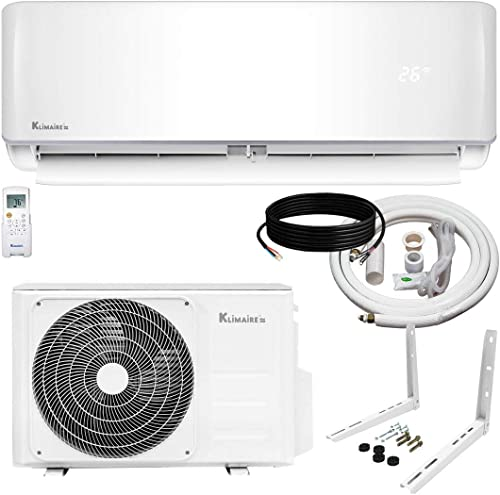 Klimaire Ductless Mini-Split Inverter Air Conditioner Heat Pump System with 15-ft Installation Kit and Wall Bracket (...