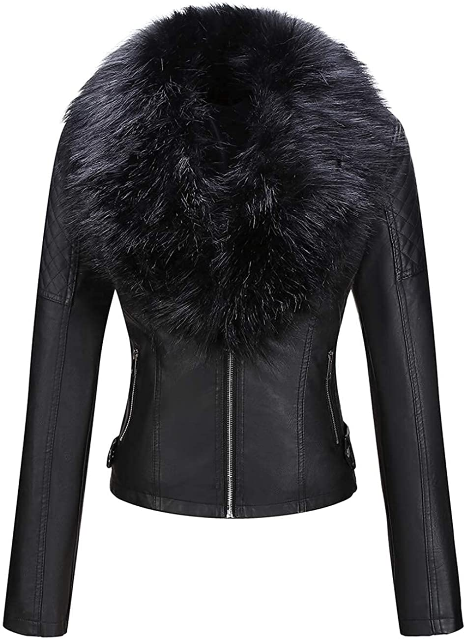 Giolshon Women's Faux Suede Jacket Motorcycle Short Coat with Detachable Faux Fur Collar