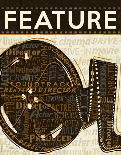 Leinwandbild Pela Studio - Cinema IV - 60 x 76.2cm - Premiumqualität - Grafik, Film, Kinofilm, Filmrolle, Kino, Theater, Treppenhaus, braun/beige - MADE IN GERMANY - ART-GALERIE-SHOPde
