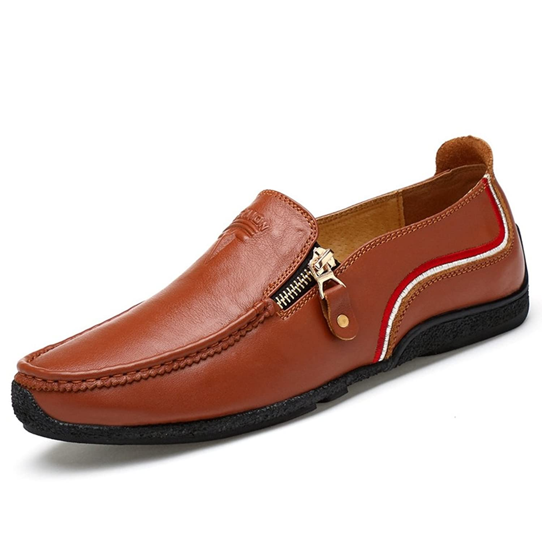 [QIFENGDIANZI] スリッポン メンズ ビジネスシューズ カジュアルシューズ フラット ローファー シンプル 履きやすい オシャレ 快適 コンフォート ロー カット 靴 ドライビングシューズ