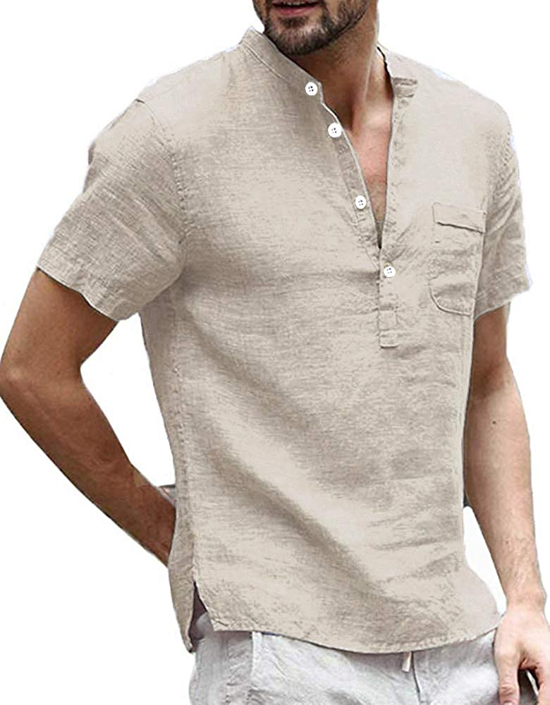 Enjoybuy Mens Linen Miami Mall Henley Shirts Short SEAL limited product T Sleeve S Summer Casual