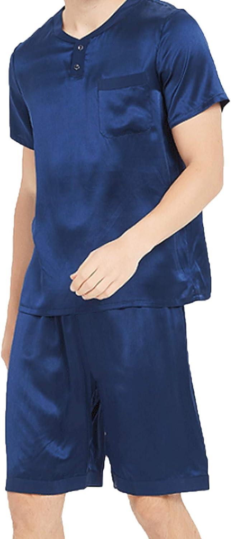Men's Pajamas Set Short Sleeve Pajama Sleepwear Navy blue XXL