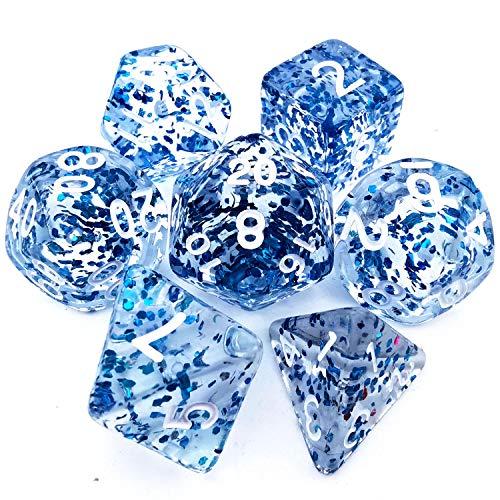 HAOMEJA Transparent Color Irregular dice DND Dice Set 7pcs D&D Dice for Dungeons and Dragons RPG Gameplay Dice (Blue Flower)