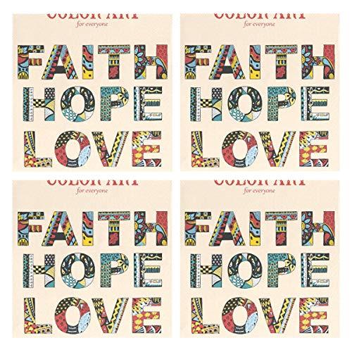 MALPLENA Faith Hope Love Art En Couleurs Pour Tout Monde Napperons de cuisine Napperons, sets de table, set de table Set de 4 sets de table pour table à manger résistant à la chaleur antidérapant lava