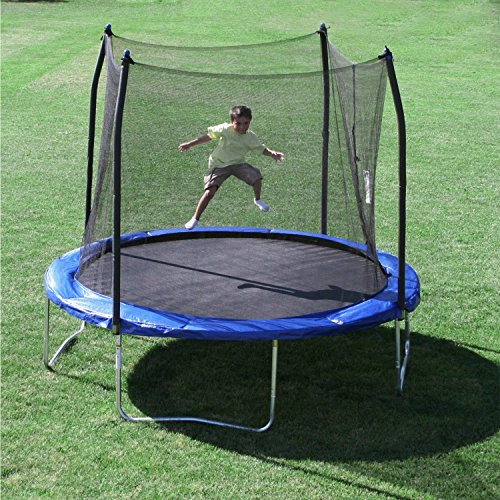 Skywalker Trampolines 10 Trampoline, with Enclosure and Wind Stakes, Blue
