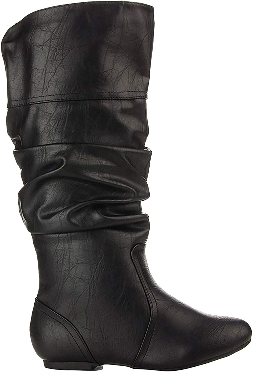 BIGTREE PU Leather Boots for Women Knee High Criss Cross Buckle Cowboy Boots Winter
