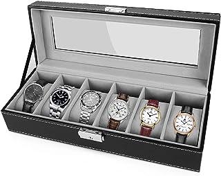 Gifort Boîte à montres, 6 Compartiments Coffret à Montres en Cuir PU Présentoir à Montres avec Couvercle en Verre & Coussi...