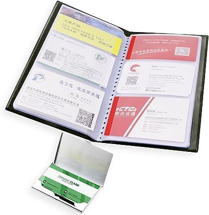 Business Name Card Buch Halter mit Edelstahl Pocket Cardcase, Senhai PU Leder Kredit ID Card Collector Storage, Tagebuch Organizer f�r B�ro, 40�Seiten, 240�Karten���Schwarz