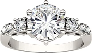 14K White Gold Moissanite by Charles & Colvard 8mm Round Engagement Ring, 2.22cttw DEW