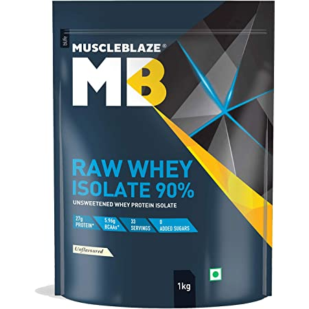 MuscleBlaze Raw Whey Isolate 90% | Protein 27g | BCAA 5.96g | Glutamic acid 4.7g Per Serving (Unflavored, 1 kg / 2.2 lb, 33 Servings) (Unflavored, 1 kg / 2.2 lb)