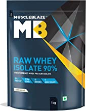 MuscleBlaze Raw Whey Isolate 90% | Protein 27g | BCAA 5.96g | Glutamic acid 4.7g Per Serving (Unflavored, 1 kg / 2.2 lb, 33 Servings)