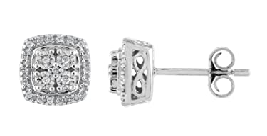Prism Jewel 0.10Ct Natural H-I/I3 Diamond Cluster Push Back Earrings Crafted in 925 Sterling Silver