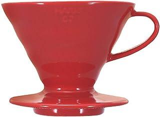 Hario VDC-02R V60 kaffefilter hållare porslin – storlek 02/1–4 koppar, röd