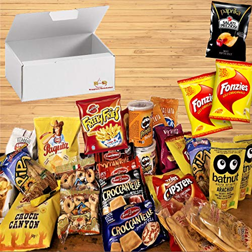 Mistery Box Italian Party Confezione Assortita 25 Pezzi Snack Salati Patatine Taralli Fonzie Cipster Schiacciatine idee regalo Aperitivi Compleanni
