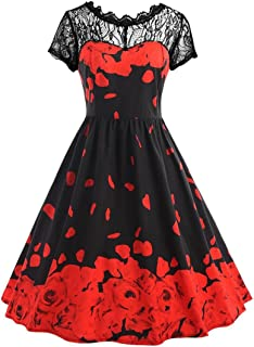Womens Flowers Printing Dress Lace Short Sleeve Vintage Party Ball Prom Maxi Gown Zulmaliu