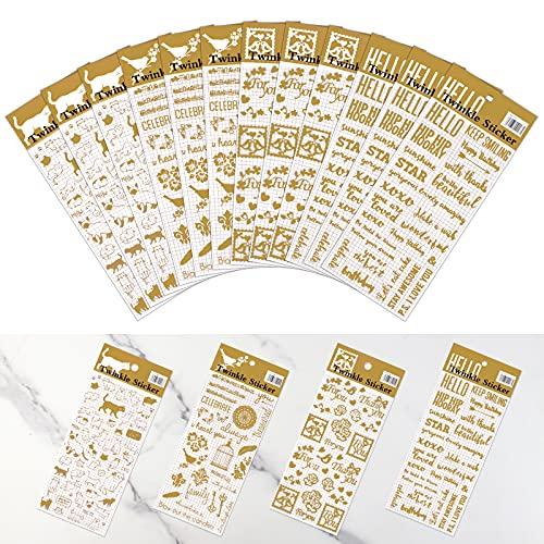 12 Hojas Pegatinas autoadhesiva Pegatinas Letras Dorado Pegatinas Scrapbooking Etiqueta Adhesiva Brillante Ideal para Decorar Agendas, Cuadernos, Calendario, Planificadores Semanales y Tarjetas