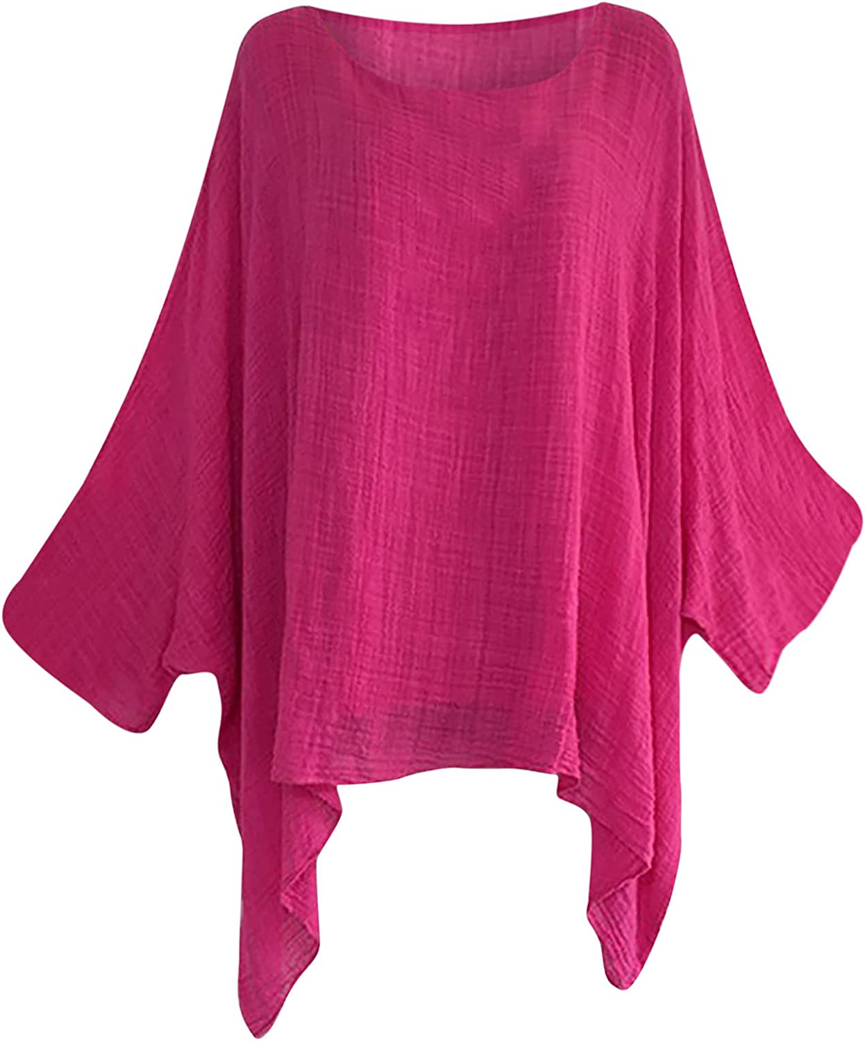 5665 Women's Tunic Tops Batwing Sleeve Basic Loose T Shirts Solid Color High Low Tee Half Sleeve Blouse Oversized Nightshirt
