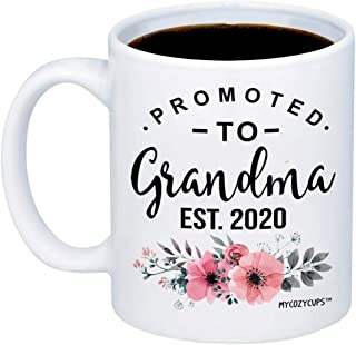 MyCozyCups Baby Reveal Gift For Mom - Promoted To Grandma 2020 Coffee Mug - New Mommy To Be Gift Idea For Mothers - New Parents Pregnancy Surprise Announcement Photo Prop Cup For Her