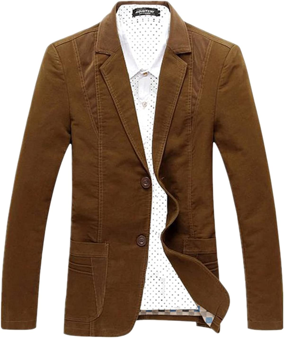 Uaneo Men's Notch Lapel Button Corduroy Cotton Suit Blazer Jacket Outerwear (Brown, Medium)
