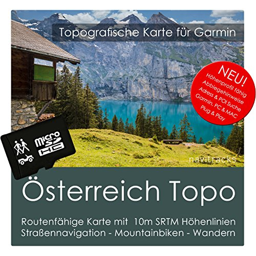 Österreich Garmin Karte Topo 4 GB microSD. Topografische GPS Freizeitkarte für Fahrrad Wandern Touren Trekking Geocaching & Outdoor. Navigationsgeräte, PC & MAC