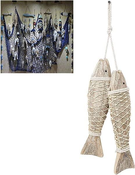 Uscyo Wooden Fish Pendant Coast Decoration Handcarved Fish Wall Hanging Door Creative Wood Room Decoration Hanger Wood Fish 2pcs