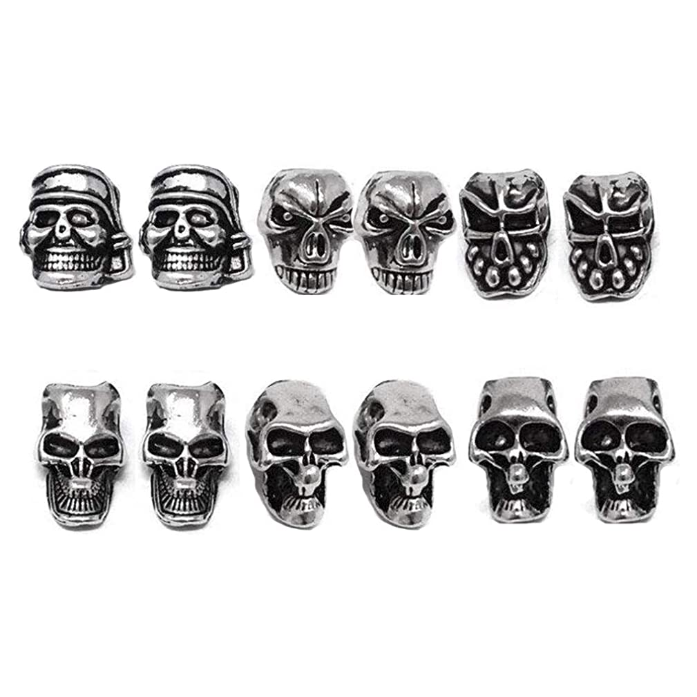 ShineIn Mini Skull Spacer Beads for DIY Jewelry Charms Accessories Necklace Lanyards Bracelets Earrings 12 Pcs