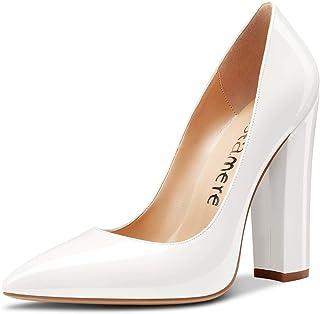 CASTAMERE Escarpins Femme Bout Pointu Bloc Talon 12CM High Heel Shoes