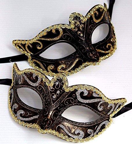 The Good Life Son et Sien Deux Vénitien Masque de Mascarade Partie des Yeux Masque Noire, Bronze et Or