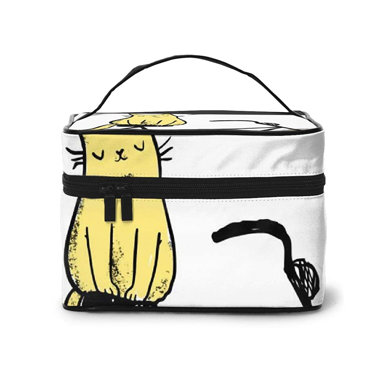 であること伝える同一性メイクポーチ 化粧ポーチ コスメバッグ バニティケース トラベルポーチ 猫 自転車 英文 雑貨 小物入れ 出張用 超軽量 機能的 大容量 収納ボックス