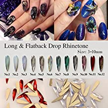 Mixed Color 100pcs Nail Art Long & Flat Back Dorp Rhinestone Crystal Decoration Alloy Rhinestones DIY Nails Art Cosmetic