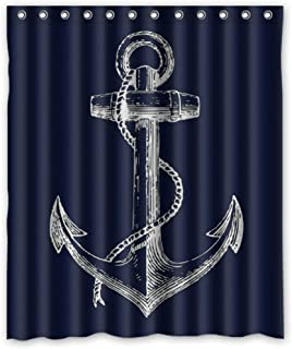 Custom Nautical Navy Blue Anchor Shower Curtain, 70x72 inch