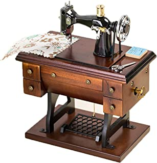 Manual Music Box Creative Wooden Simulation Sewing Machine Music Box, Classical Music Box Decoration Birthday Good Sound (Color : Cannon)
