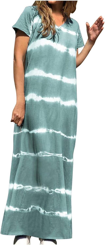 iQKA Womens Spaghetti Strap Sleeveless Tie-Dye Striped V Neck Maxi Dresses Plus Size Sun Dress Vestidos (S-5XL)